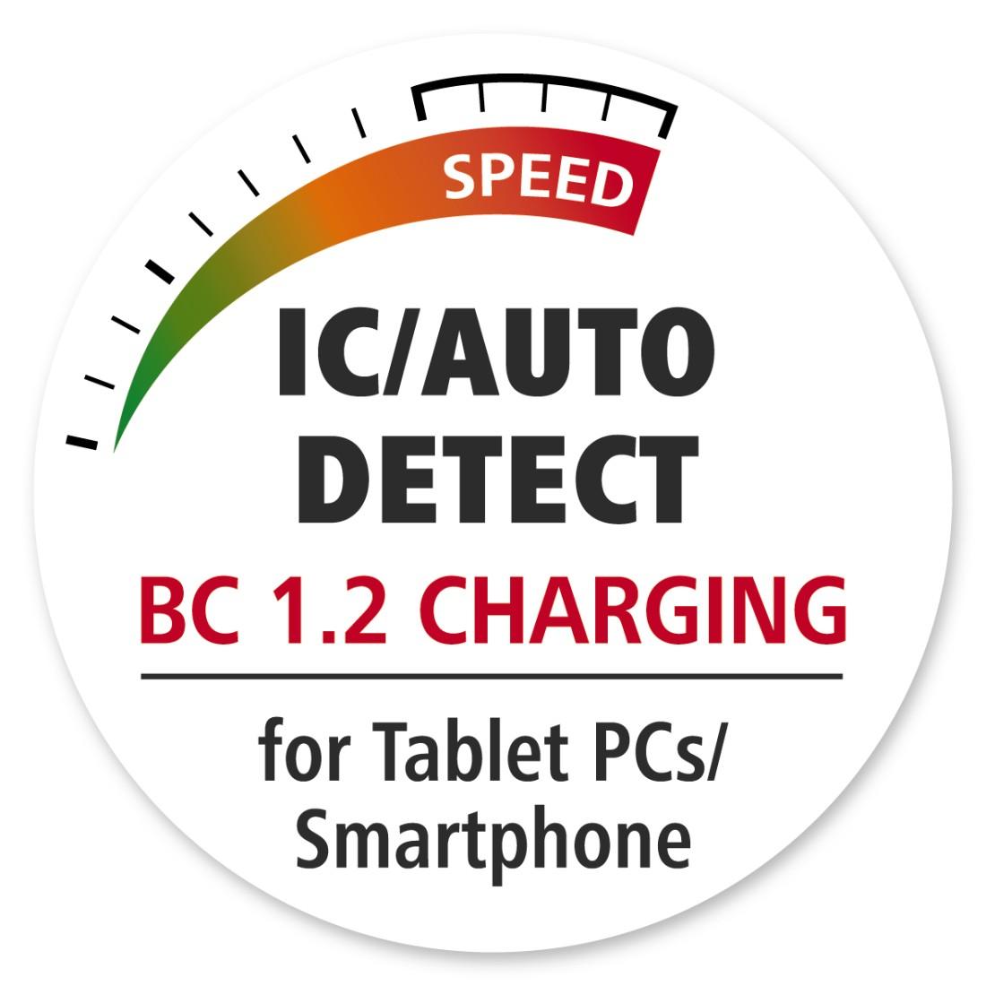 HAMA USB 3.0 Hub 1:4 mit Ladefunktion und Netzteil, silber