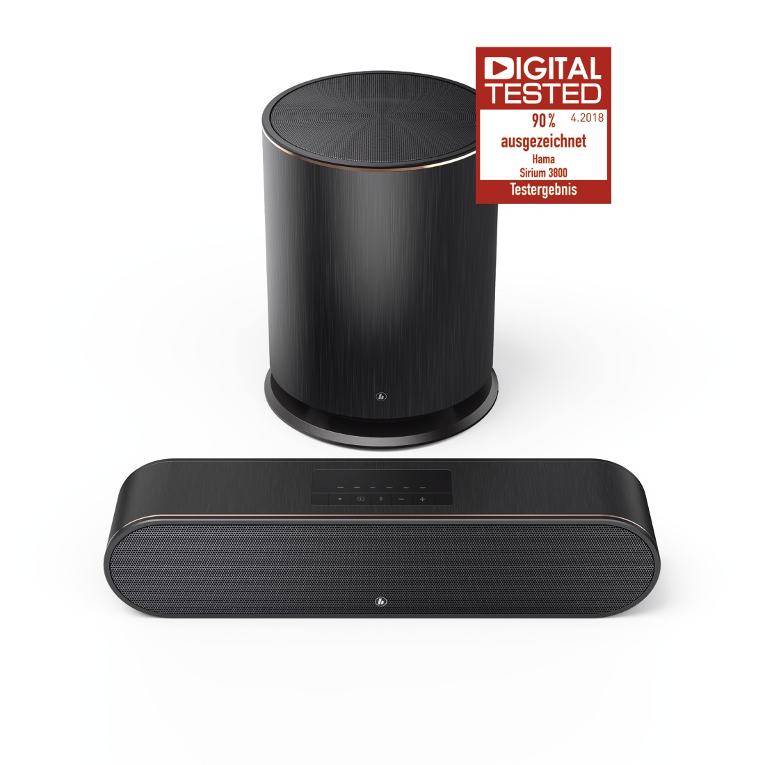"uax Druckfähige Abbildung Logo - Hama, Smart-Slim-Soundbar 2.1 ""SIRIUM3800ABT"", Wireless Subwoofer/Alexa/Bluetooth"